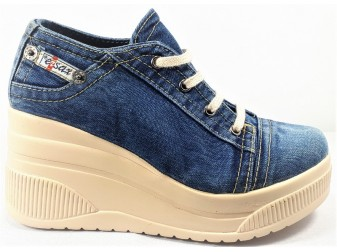 Мокасины на шнурке 552-40 E-sax, Джинсовая обувь