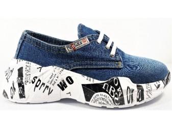 Мокасины на шнурке 7550 E-sax, Джинсовая обувь