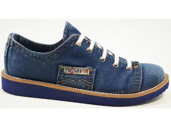 Мокасины на шнурке 552-T4 E-sax, Джинсовая обувь