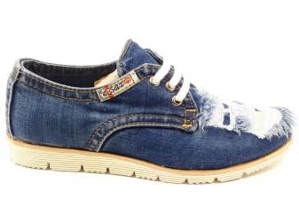 Мокасины на шнурке 550-P4-Y14 E-sax, Джинсовая обувь