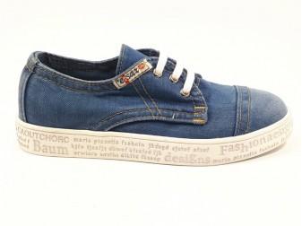 Мокасины на шнурке 551-G1 E-sax, Джинсовая обувь