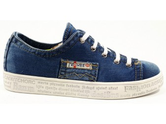 Мокасины на шнурке 552-G1 E-sax, Джинсовая обувь