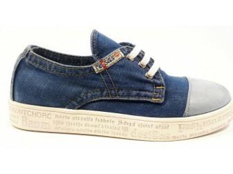 Мокасины на шнурке 551-С-131-G1 E-sax, Джинсовая обувь