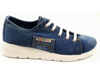 Мокасины на шнурке 552-F6 E-sax, Джинсовая обувь