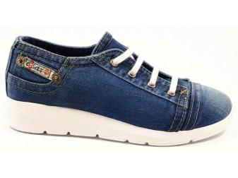 Мокасины на шнурке 701-F6 E-sax, Джинсовая обувь