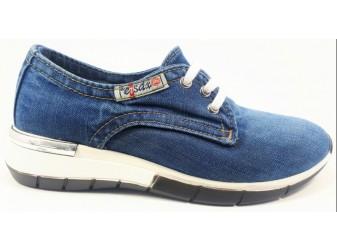 Мокасины на шнурке 550-A1 E-sax, Джинсовая обувь