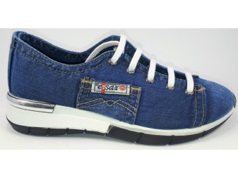 Мокасины на шнурке 552-A1 E-sax, Джинсовая обувь