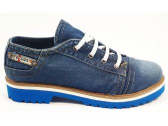 Mокасины на шнурке 710-i4m Ersax, Джинсовая обувь