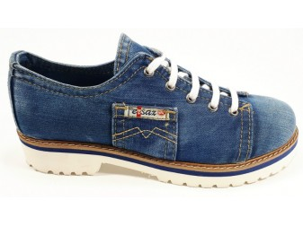 Мокасины на шнурке 552-i4 Ersax, Джинсовая обувь