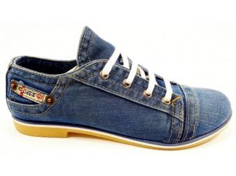 Mокасины на шнурке 701-39 Ersax, Джинсовая обувь