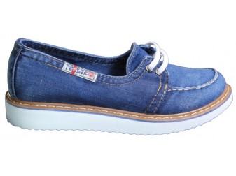 Мокасины на шнурке 703-33 Ersax, Джинсовая обувь