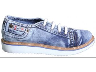 Мокасины на шнурке 701-Y4-33 Ersax, Джинсовая обувь