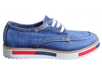 Мокасины на шнурке 704-Y8 Ersax, Джинсовая обувь