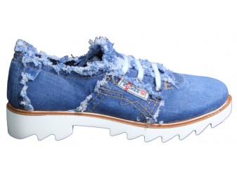 Мокасины на шнурке 700-P1-05 Ersax, Джинсовая обувь